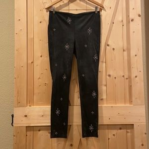 Free People Faux Leather Studded Pull On Leggings